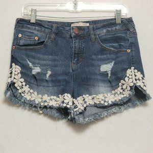No Boundaries Jean Shorts Size 13 High Waist Lace